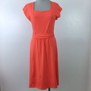 Lands End Coral Stretchy Knit Dress